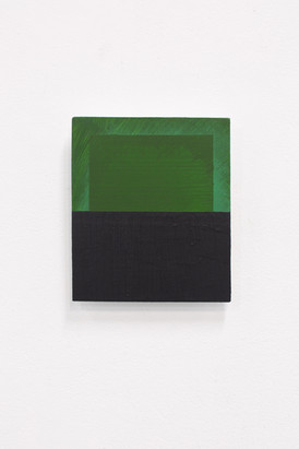Green/Black (Deliberate Pictures), 2020, acrylic on board, 25cm x 21cm.