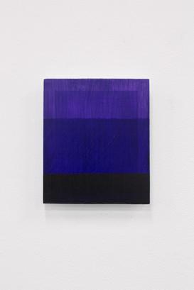 Purple Tri (Deliberate Pictures), 2020, acrylic on board, 25cm x 21cm.