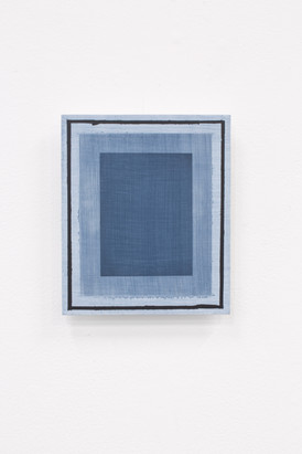Blue Frame (Deliberate Pictures), 2020, acrylic on board, 25cm x 21cm.