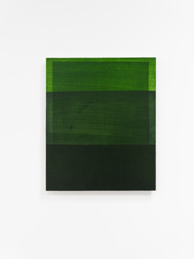 Rectangles are lighter than squares (Australian Sap Green), 2020, acrylic on board, 45.5cm x 37.5cm.