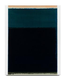 Rekindling (Green/Blue/Black), 2021, acrylic on Italian linen, 75cm x 60cm.