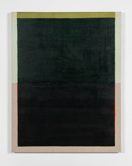 Untitled (Orange/Green), 2021, acrylic on Italian linen, 107cm x 84cm.