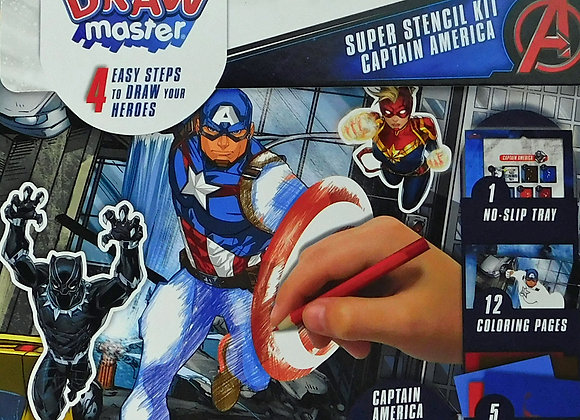 Marvel Comics Marvel Draw Master Captain America Stencil Kit Starter Set - Toys