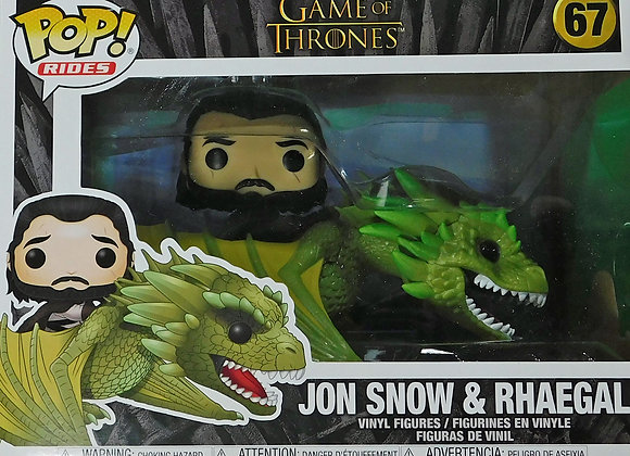 Funko POP TV Game Of Thrones Jon Snow Rides Dragon  Rhaegal Figure - Collectable