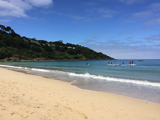 Carbis bay, family friendly, car parking, cafe, sheltered bay,  coastal railway, crystal clear water, sandcastles, Kernow