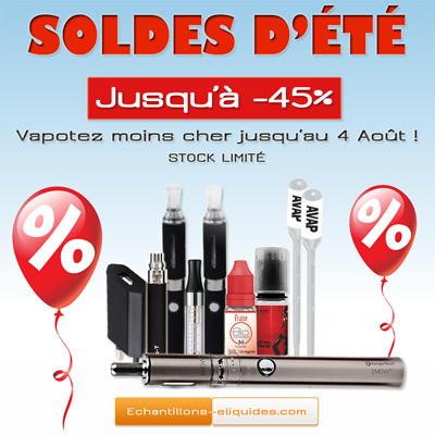 SOLDES D'ÉTÉ sur les e-liquides et les e-cigarettes