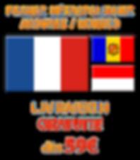 Livraison d'eliquides et ecigarettes vers la FRANCE Métropolitaine, ANDORRE et MONACO