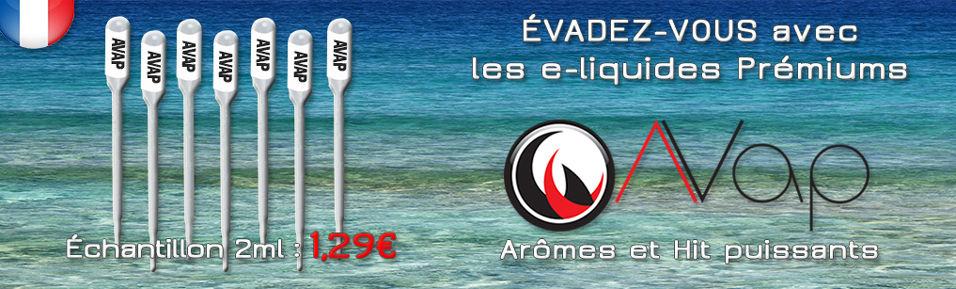 Echantillons E-liquides Prémiums AVAP 2ml à 1,29€