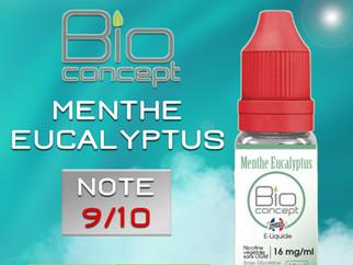 Test e-liquide BIO CONCEPT MENTHE EUCALYPTUS : Un très bon menthol à la douce note florale. Note 9/1