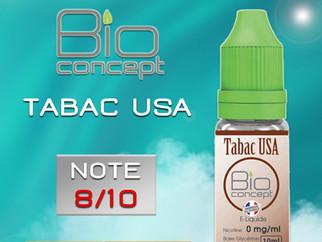 Test e-liquide BIO CONCEPT TABAC USA : Un tabac blond mi-sec à base végétale de bonne facture. Note