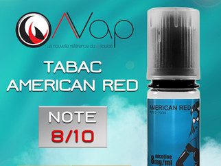 Test du e-liquide tabac AMERICAN RED d'AVAP : Un tabac blond délicatement sucré. Note 8/10