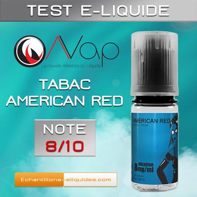 Test e-liquide tabac AVAP AMERICAN RED : Un tabac blond délicatement sucré. Note 8/10