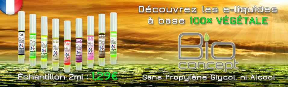 Echantillons E-liquides BIO CONCEPT 2ml à base 100% Végétale : 1,29€