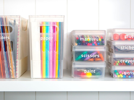 school's out! decluttering + organizing school supplies and papers