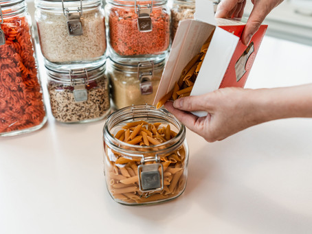 decanting dry goods in your pantry