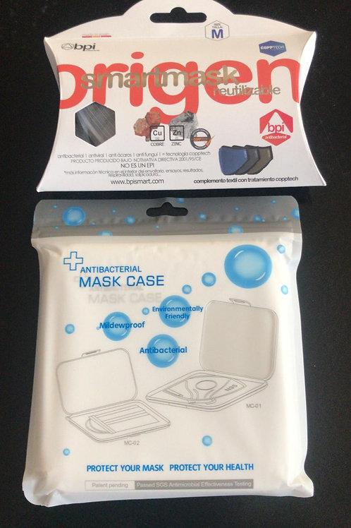 Mascarilla antimicrobiana + caja protectora