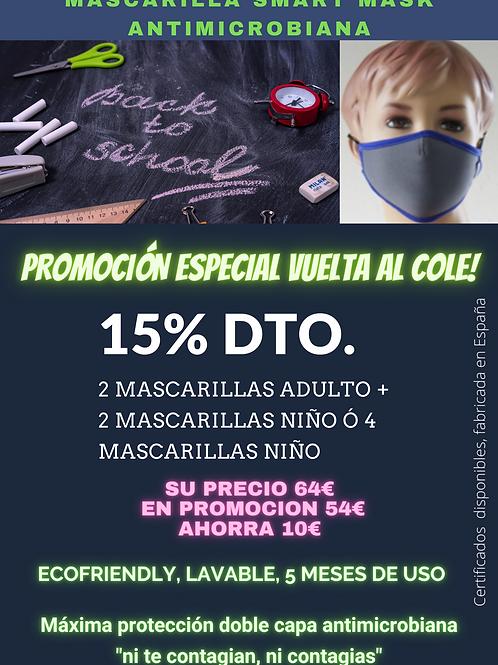 Mascarilla antimicrobiana Lote de 4 uds.