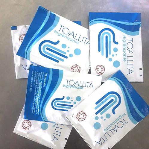 Toallita higienizante + gel monodosis caja combinada