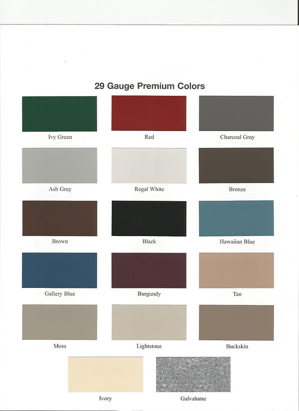 29 gauge color chart for metal roofing and metal trim.