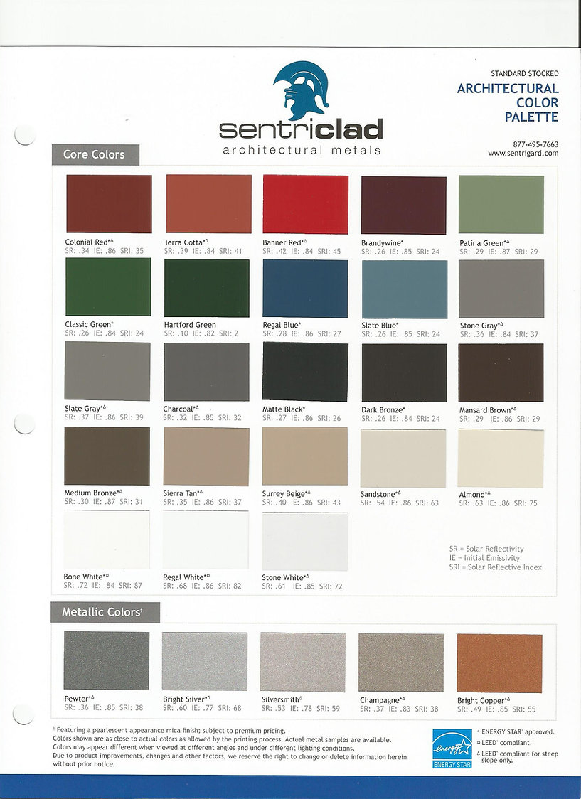 color chart for standing seam metal and metal trim