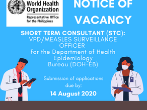 [CLOSED] Job Vacancy (WHO-PH): Notice of Vacancy for VPD/Measles Surveillance Officer