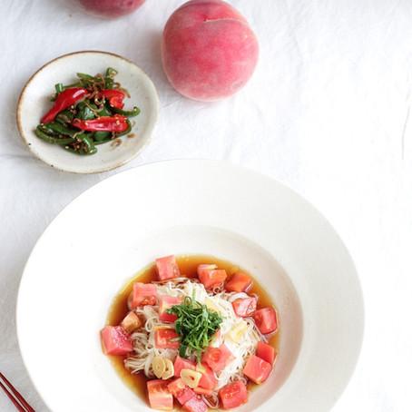 カリカリにんにくとトマトの素麺