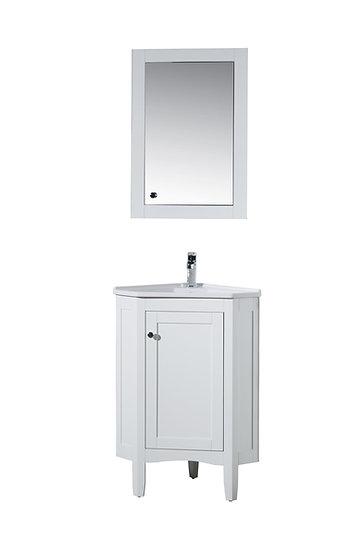 "Monte White 25"" Corner Vanity with Medicine Cabinet"
