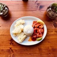 Shrimp in Red Sauce (not spicy!) served with Yuca Mojo and Rice  Camarones en Salsa Roja servidos con Yuca con Mojo y Arroz Blanco