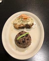 Pork Chops with garlic sauce an sauted shrimp with beans/rice mix  Chuleta de Puerco con Moros y Cristianos