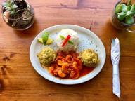 Shrimp in Red Sauce  Camarones en Salsa Roja (not spicy!) served with Fufú plátano y Arroz Blanco