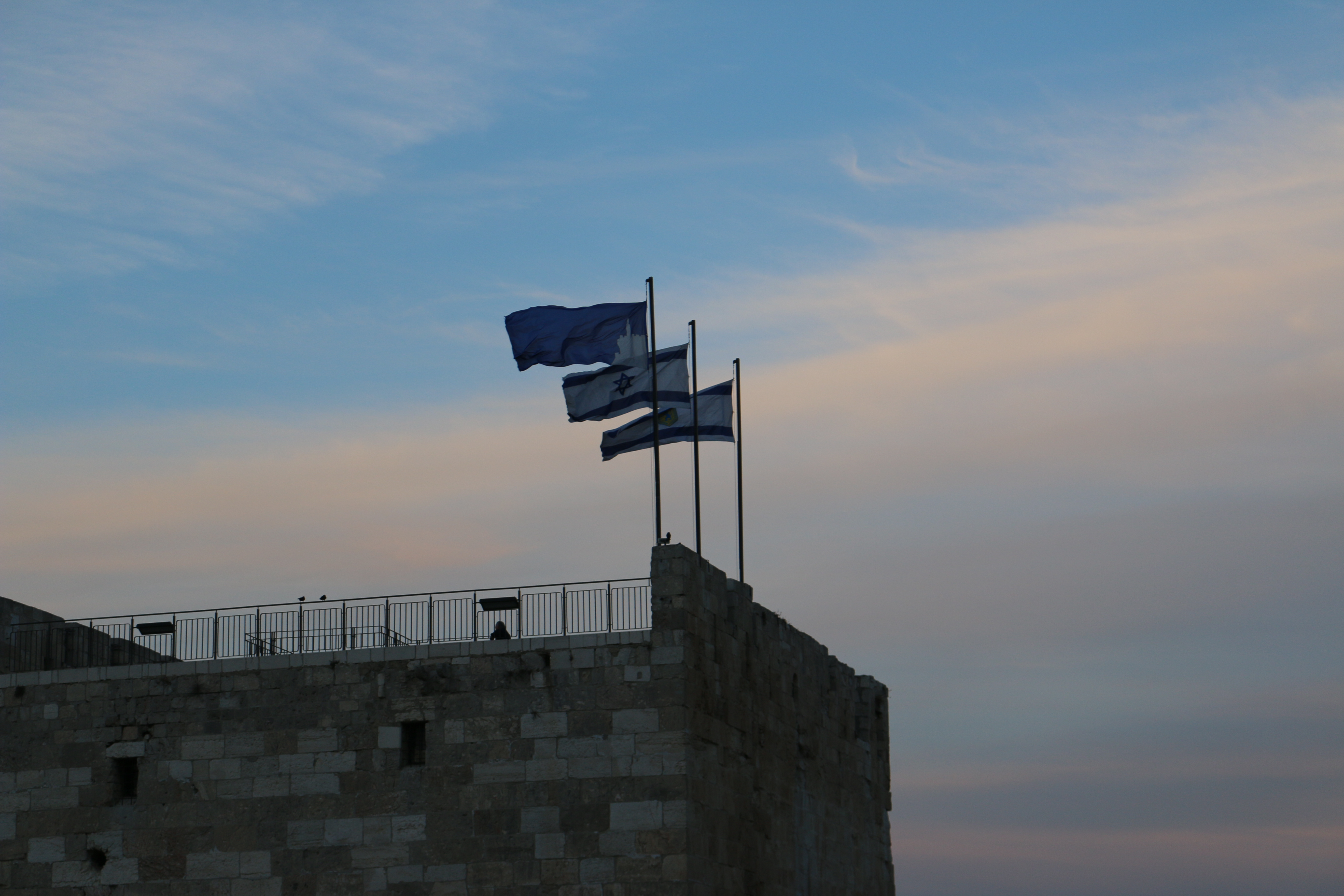 Bandera de Israel y Jerusalem