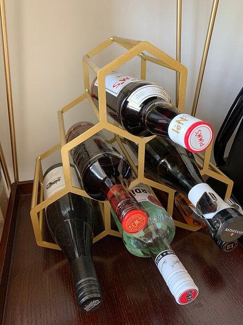 6 Bottle Gold Wine Rack