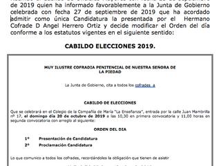 Convocatoria Cabildo de Elecciones