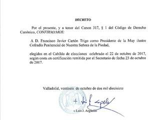 CONFIRMACIÓN DE D. FRANCISCO JAVIER CARTÓN TRIGO COMO PRESIDENTE DE LA COFRADIA