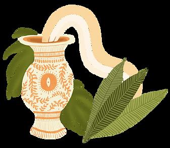vaso de plantas estampado com monstera