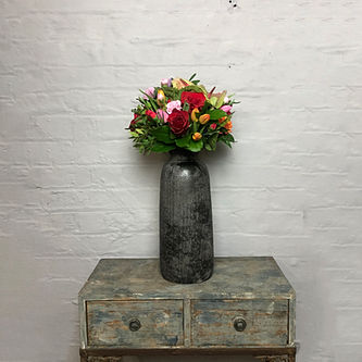 Bali black coal vase tall flowers distan