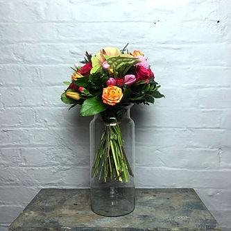 Glass Vase Fles 15_35cm flowers close.jp