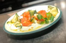 Gin cured Salmon, pickled Cucumber