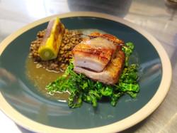 Pork belly, puy lentils