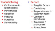 Dimensions of Quality for Production vs. Service Organizations