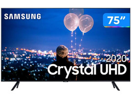 "TV Samsung 75"" Crystal UHD 65TU8000 4K, Wi-fi, Bluetooth 4.2 Borda Infinita, Alexa, Controle Único:"