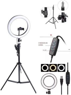 Kit Completo Ring Light com Tripé, Dimer, Youtuber, Selfie Pro
