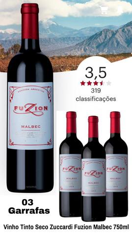 Vinho Tinto Seco Zuccardi Fuzion Malbec 750ml - 3 Unidades