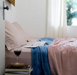 Cobertor Casal Flannel 3D Floral Rosé - Casa & Conforto