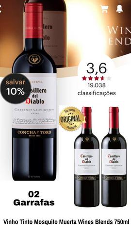 Kit 2 Vinho Importado Chileno Casillero Del Diablo Cabernet Sauvignon Tinto 750ML