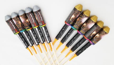 Zink Premium Raketen Brokat/ Silberweide, 10er