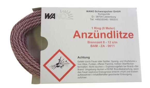 WANO Anzündlitze Zündschnur Rot 8m - Brenndauer ca. 8-12 s/m
