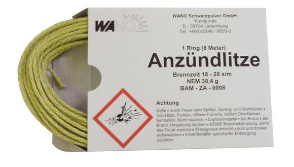 WANO Anzündlitze Zündschnur Gelb 8m - Brenndauer ca. 18-28 s/m