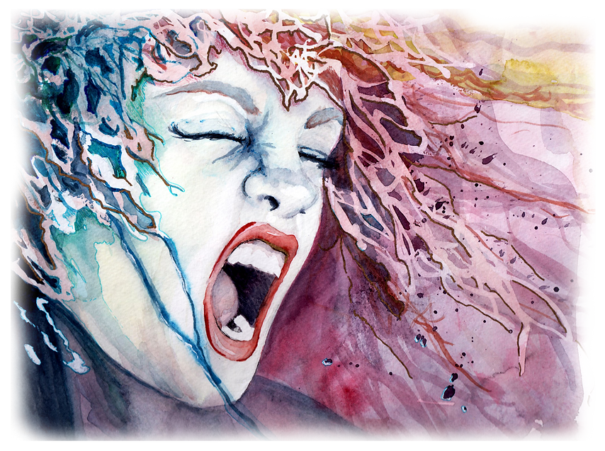 scream watercolor portraite by Shelby Underdahl