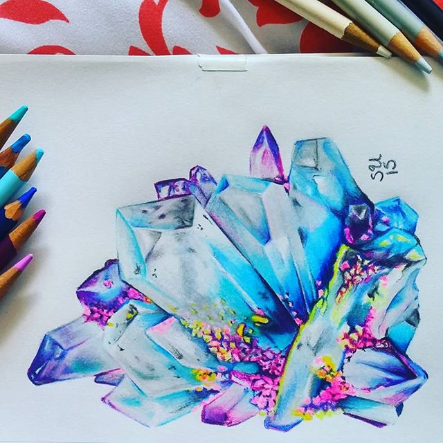 Rainbow quartz cluster, colored pencil